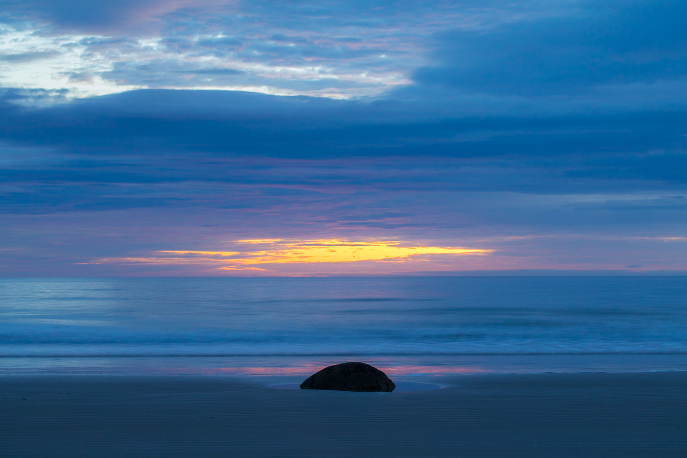 One of the more painterly views of Moeraki Boulders at sunrise